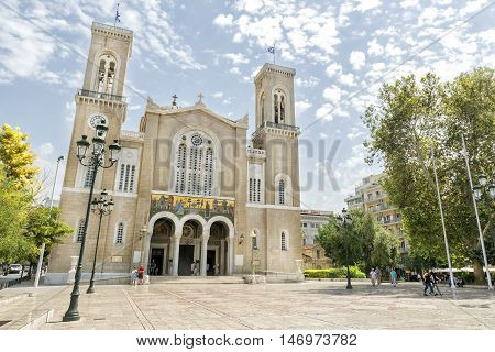 ATHENS, GREECE, SEPTEMBER 9,2016: Exterior shot of Metropolitan Cathedral of Athens, is the cathedral church of the Archbishopric of Athens and all Greece.