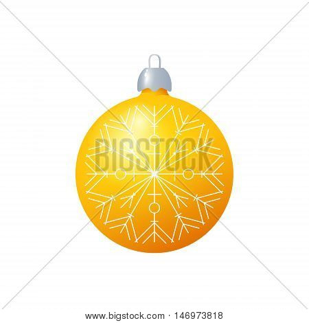 Christmas Yellow Ball with Snowflake Isolated on White Background , Christmas Tree Decoration, Merry Christmas and Happy New Year, Vector Illustration