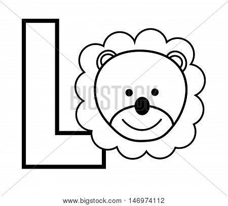 L is for Lion Black and White Coloring Page