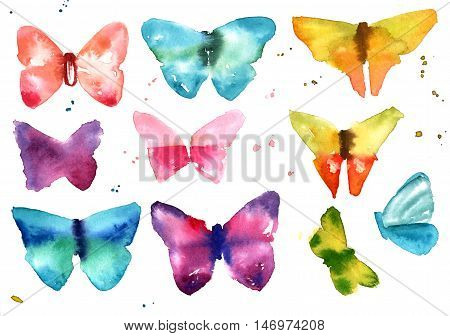 A collection of abstract freehand watercolour butterflies, teal blue, pink, purple, and yellow, on white background