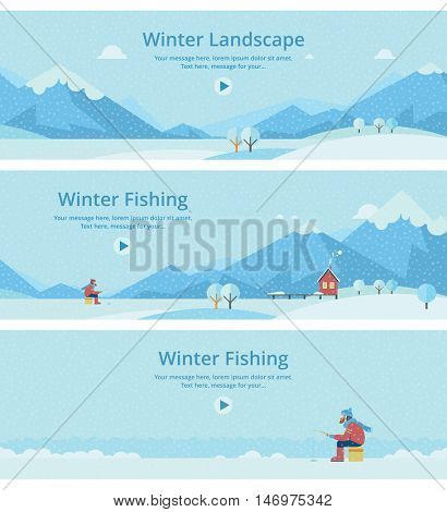 a man on the ice fishing. House on mountain lake landscape.