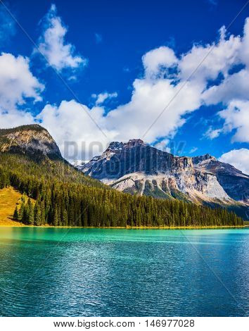 Magic mountain lake Emerald in Canada. The emerald-green lake surrounded by a pine forest