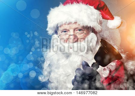 santa claus classic portrait with bell