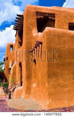 Historic adobe style building taken in Santa Fe, NM