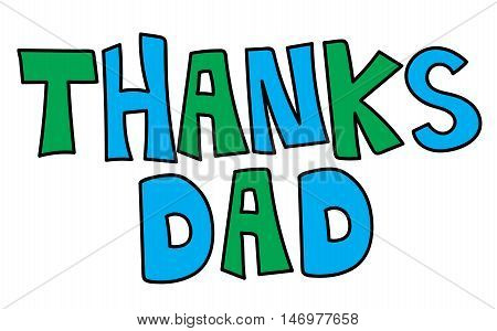 Thanks Dad Green and Blue Fathers Day Lettering