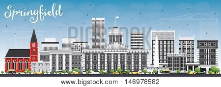 Springfield Skyline with Gray Buildings and Blue Sky. Vector Illustration. Business Travel and Tourism Concept . Image for Presentation Banner Placard and Web Site.