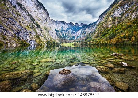 Unique lighting effects on the lake Obersee. Berchtesgaden in Germany on the border with Austria