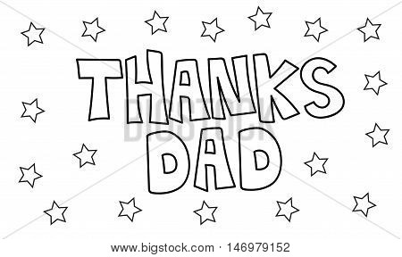 Thanks Dad Stars Black and White Coloring Page