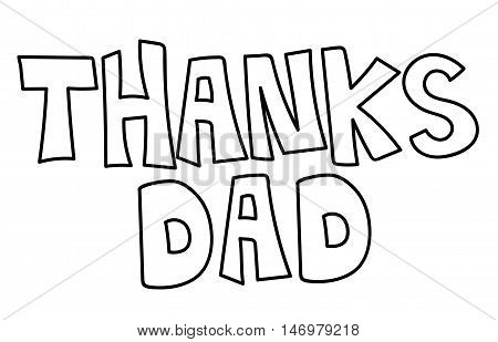 Thanks Dad Black and White Coloring Page