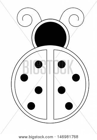 Ladybug Ladybird Black and White Coloring Page