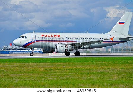 ST PETERSBURG RUSSIA - MAY 11 2016. VP-BIT Rossiya Airlines Airbus A319 airplane closeup view. Airplane is riding on the runway after arrival at Pulkovo airport in St Petersburg Russia