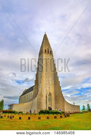 Hallgrimskirkja Cathedral, a Lutheran parish church in Reykjavik, Iceland