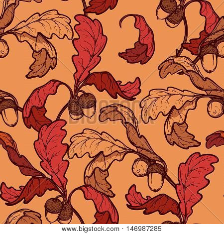 Autumn red and ocher oak leaves and acorns. Detailed intricate hand drawing. Chaotic distribution of elements. Seampless pattern. EPS10 vector illustration.