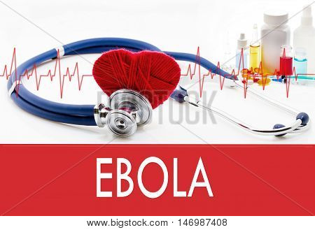 Medical concept ebola. Stethoscope and red heart on a white background