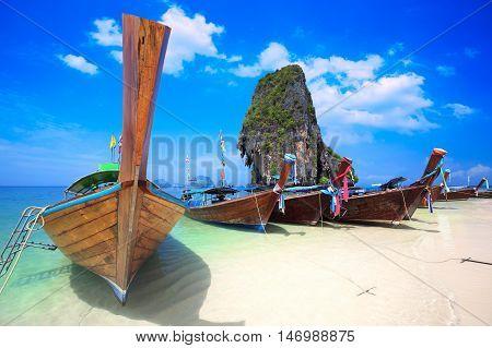 Closeup long tail boat at Rairay beach Krabi Thailand