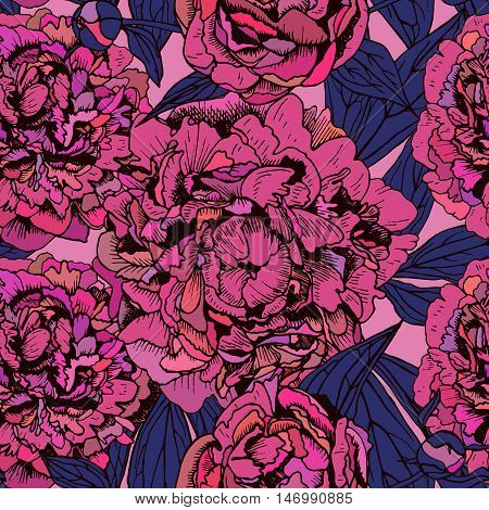 vector floral seamless pattern with beautiful peonies