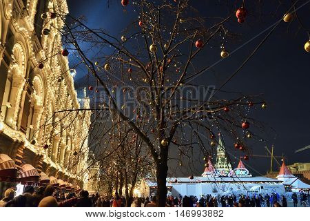 Red Square In Moscow, Winter Christmas Decoration, Russia