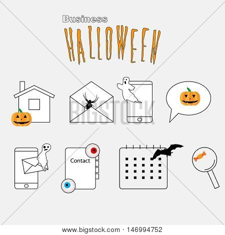 Set of Thin lines web icons Halloween theme