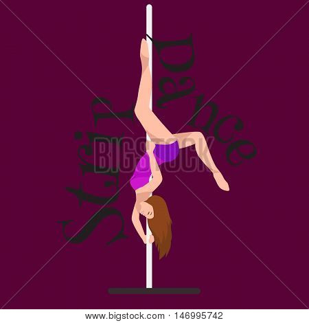 Female Pole dancer, woman dancing on pylon, sexy strip girl dancer, yong stripper, sport dance, isolated colored background pretty woman body, beautiful slim girl long hair vector illustration