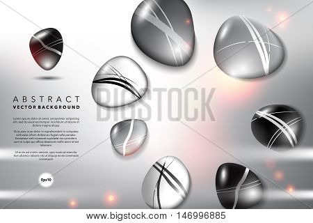 Abstract background. Round pebble stones, black, gray and white with realistic transparent shine and shadow on the light background. Vector illustration. Eps10.