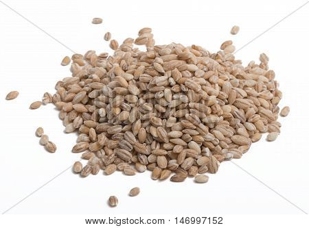 small pile of pearl barley on white background
