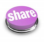 A purple button with the word Share on it symbolizing sharing gifting and generosity poster