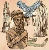 MUMMY. An mummy flying owl and snake in front of stone menhir and dolmen. Freehand sketching line drawing. An hand drawn vector illustration. Colored line art technique. poster