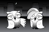 Two Urban Hoot Owls rap to each other in the moonlight. poster