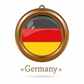 Round golden medallion with the German flag inside. Federal Republic of Germany flag. Vector illustration poster