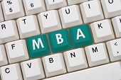 Getting your MBA online A close-up of a keyboard with teal highlighted text MBA poster