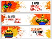 Diwali Mega Sale website header or banner set, Creative abstract background with watercolor brush strokes and illuminated oil lamps for Indian Festival of Lights celebration. poster
