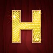 Gold light lamp bulb letter H. Glamorous nightclub decoration letter. Sparkling lightning glitter shine alphabet for light board. Fashion stylish neon glowing shining golden alphabet letter H poster