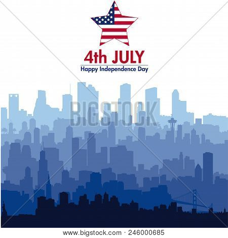 Patriotic Independence Day Background With Biggest Usa Cities Silhouettes