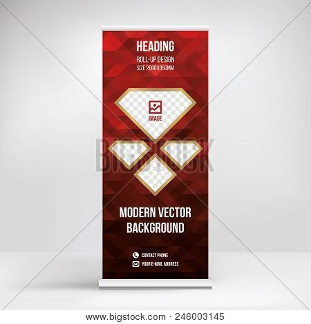 Banner Roll-up Design, Business Concept. Graphic Template Roll-up For  Exhibitions, Banner For Semin