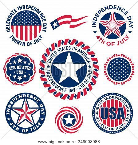Collection Of Fourth Of July Vintage Labels Commemorating United States Independence