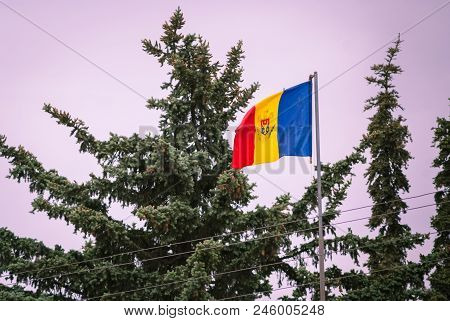 Romanian Flag On The Mast. Romania Flag Of Silk. Romanian Flag On Flagpole Blowing In Wind Isolated