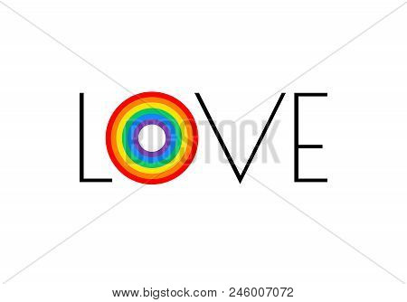 Pride Rainbow Flag Love Parade Concept - Love Typography With Pride Rainbow - Vector Illustration Fo