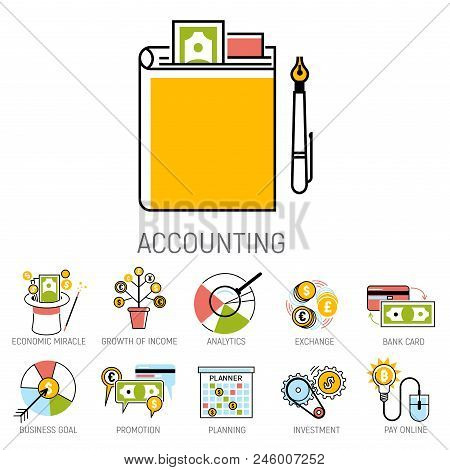 Banking Money Financial Services Set Credit Sign Development Finance Online Accumulation And Bank In