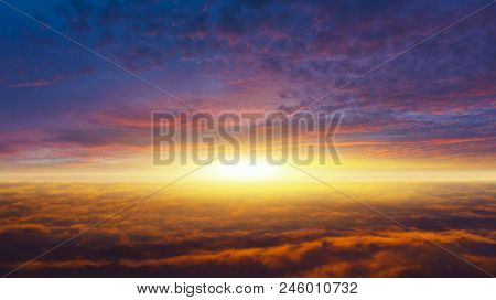 Abstract Big Explosion .  Light From Sky . Religion Background .beautiful Cloud . Background Sky At