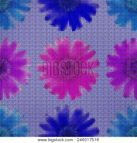 Illustration. Cross-stitch. Marigold, Calendula Officinalis, . Texture Of Flowers. Seamless Pattern