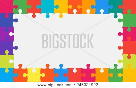 Colorful Background Puzzle. Jigsaw Puzzle Banner. Vector Illustration Template Shape. Abstract Backg
