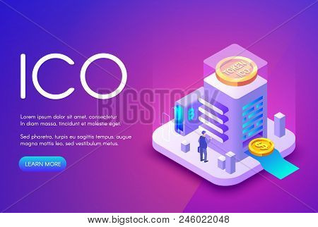 Ico Cryptocurrency Vector Illustration Of Bitcoin And Tokens For Crowdfunding Investment And Busines