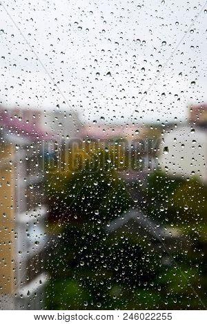 Rain Outside Window - Raindrops On Windowpane In Summer Day