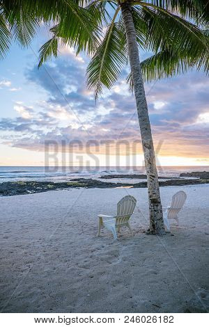 Two Deck Chairs Under Palm Tree On An Empty Beach At Lefaga, Matautu, Upolu Island, Western Samoa, S