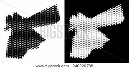 Dot Halftone Jordan Map. Vector Geographic Plan On White And Black Backgrounds. Abstract Collage Of