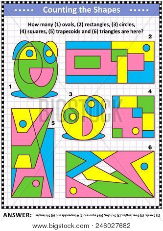 Iq Training Educational Math Puzzle For Kids And Adults With Basic Shapes - Count Ovals, Rectangles,