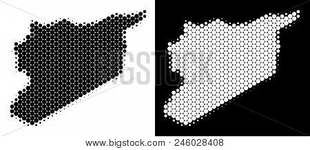 Dot Halftone Syria Map. Vector Geographic Scheme On White And Black Backgrounds. Abstract Mosaic Of
