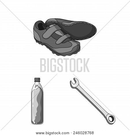 Bicycle Outfit Monochrome Icons In Set Collection For Design. Bicycle And Tool Vector Symbol Stock
