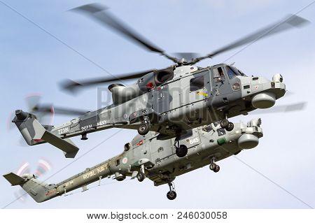Raf Waddington, Lincolnshire, Uk - July 6, 2014: Royal Navy Fleet Air Arm Agustawestland Wildcat Hma