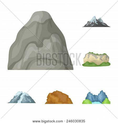 Different Mountains Cartoon Icons In Set Collection For Design.mountains And Landscape Vector Symbol